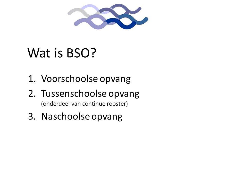 Wat is BSO? 1.Voorschoolse opvang 2.Tussenschoolse opvang (onderdeel van continue rooster) 3.Naschoolse opvang