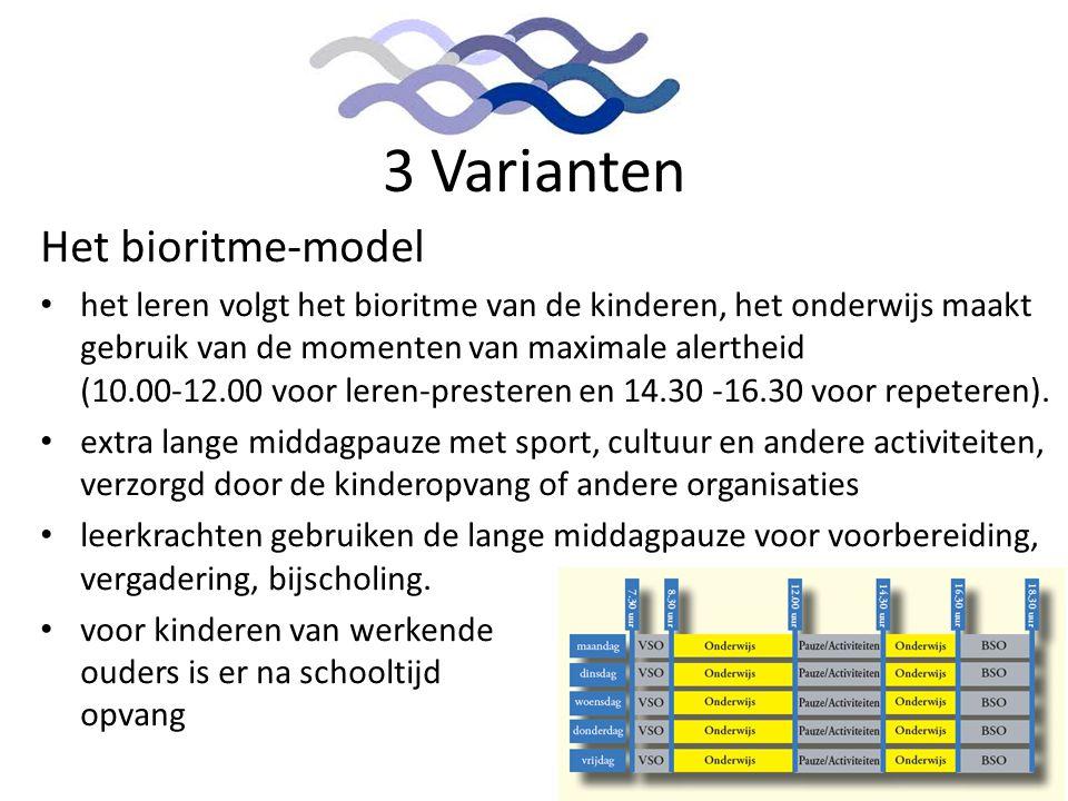 3 Varianten Het bioritme-model • het leren volgt het bioritme van de kinderen, het onderwijs maakt gebruik van de momenten van maximale alertheid (10.
