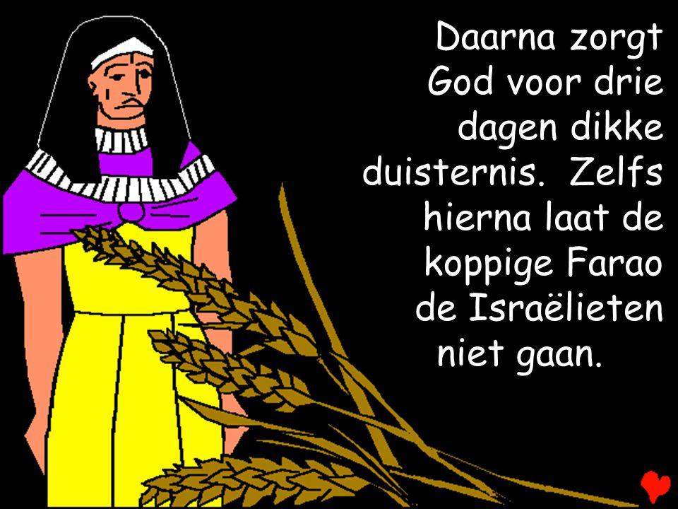 Daarna zorgt God voor drie dagen dikke duisternis. Zelfs hierna laat de koppige Farao de Israëlieten niet gaan.