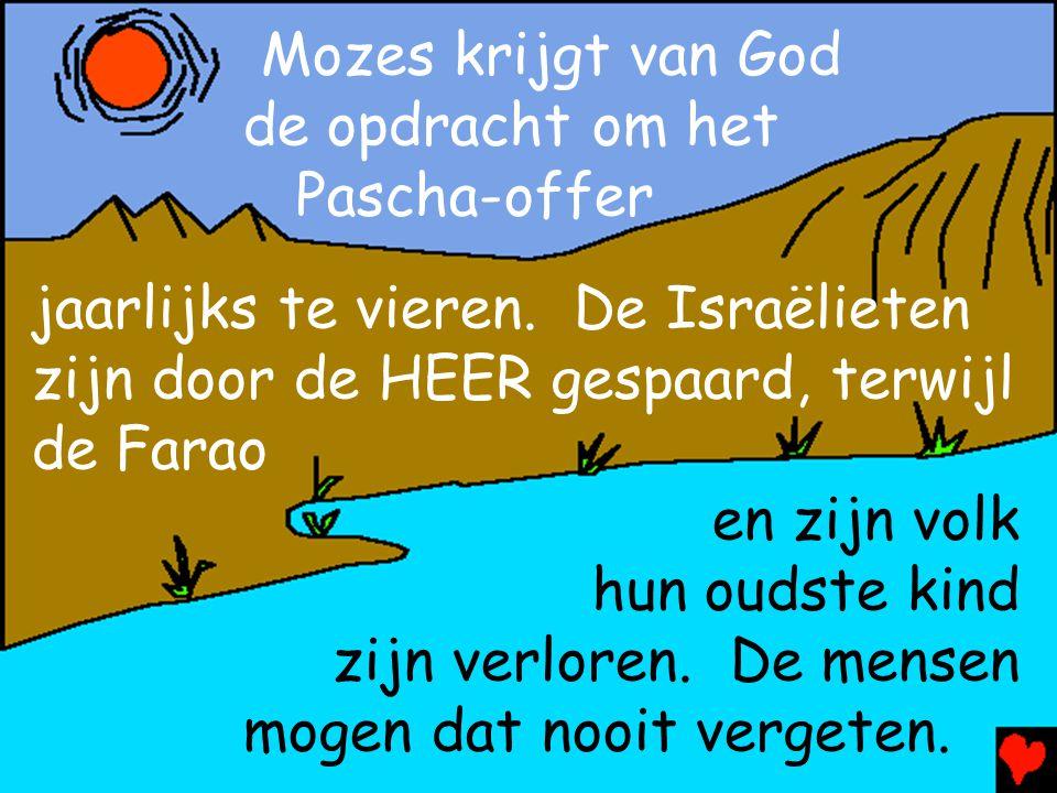Mozes krijgt van God de opdracht om het Pascha-offer jaarlijks te vieren. De Israëlieten zijn door de HEER gespaard, terwijl de Farao en zijn volk hun