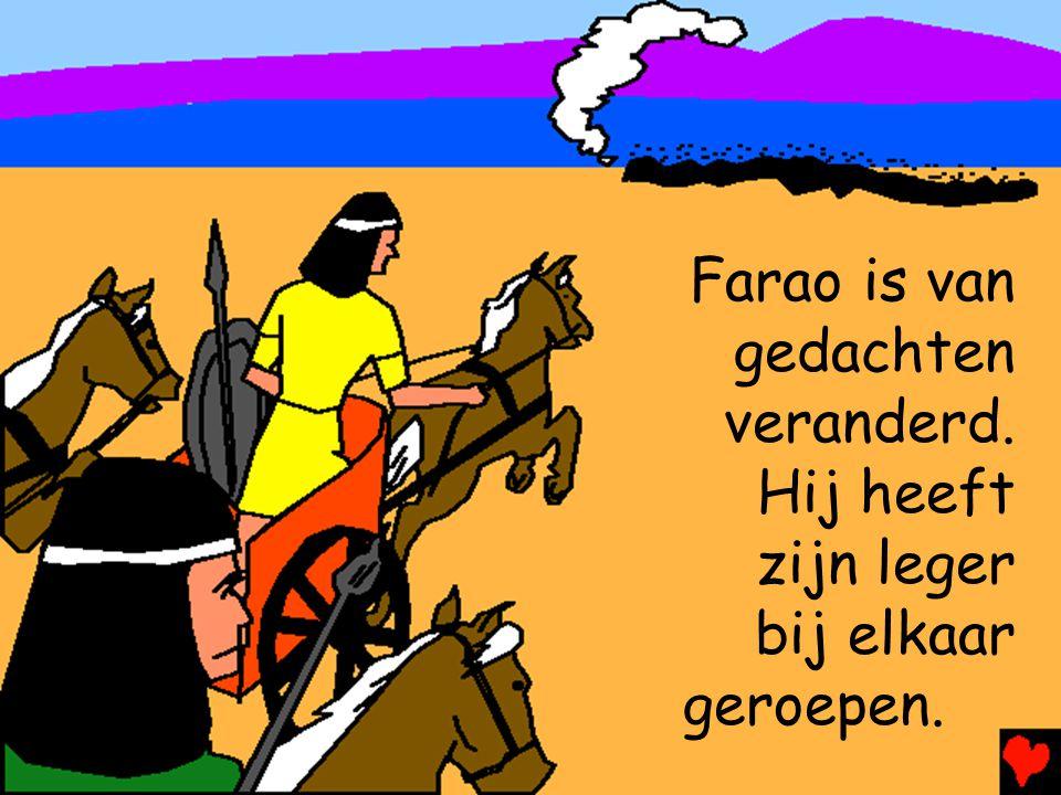 Farao is van gedachten veranderd. Hij heeft zijn leger bij elkaar geroepen.