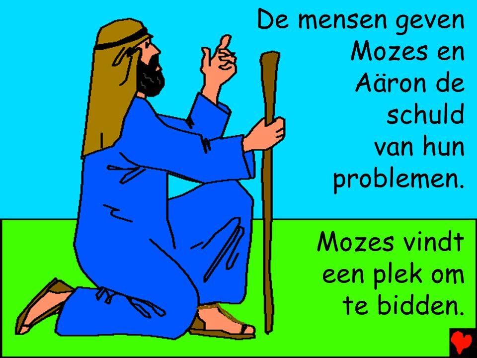 De mensen geven Mozes en Aäron de schuld van hun problemen. Mozes vindt een plek om te bidden.