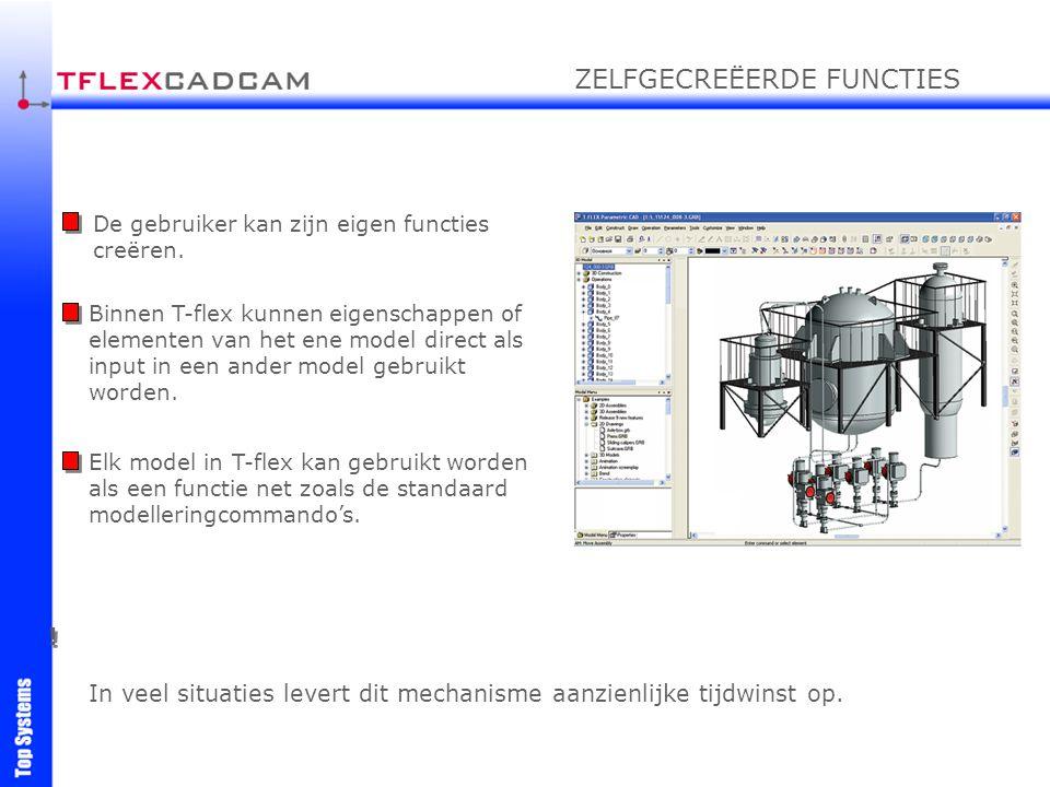 De gebruiker kan zijn eigen functies creëren. Binnen T-flex kunnen eigenschappen of elementen van het ene model direct als input in een ander model ge
