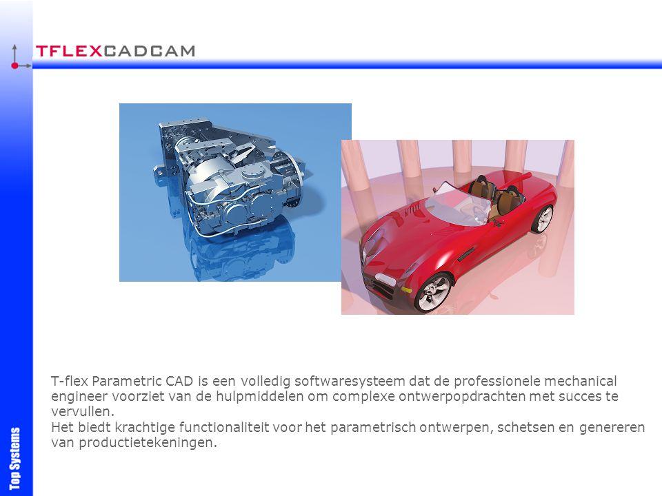 T-flex Parametric CAD is een volledig softwaresysteem dat de professionele mechanical engineer voorziet van de hulpmiddelen om complexe ontwerpopdrach