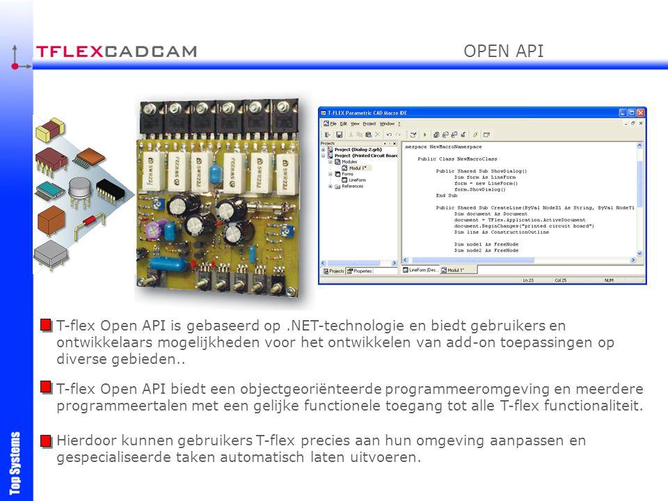 T-flex Open API is gebaseerd op.NET-technologie en biedt gebruikers en ontwikkelaars mogelijkheden voor het ontwikkelen van add-on toepassingen op div