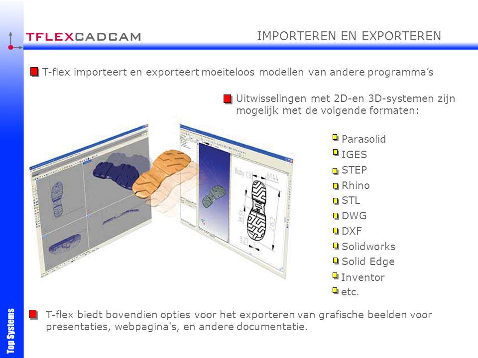 T-flex biedt bovendien opties voor het exporteren van grafische beelden voor presentaties, webpagina's, en andere documentatie. Uitwisselingen met 2D-