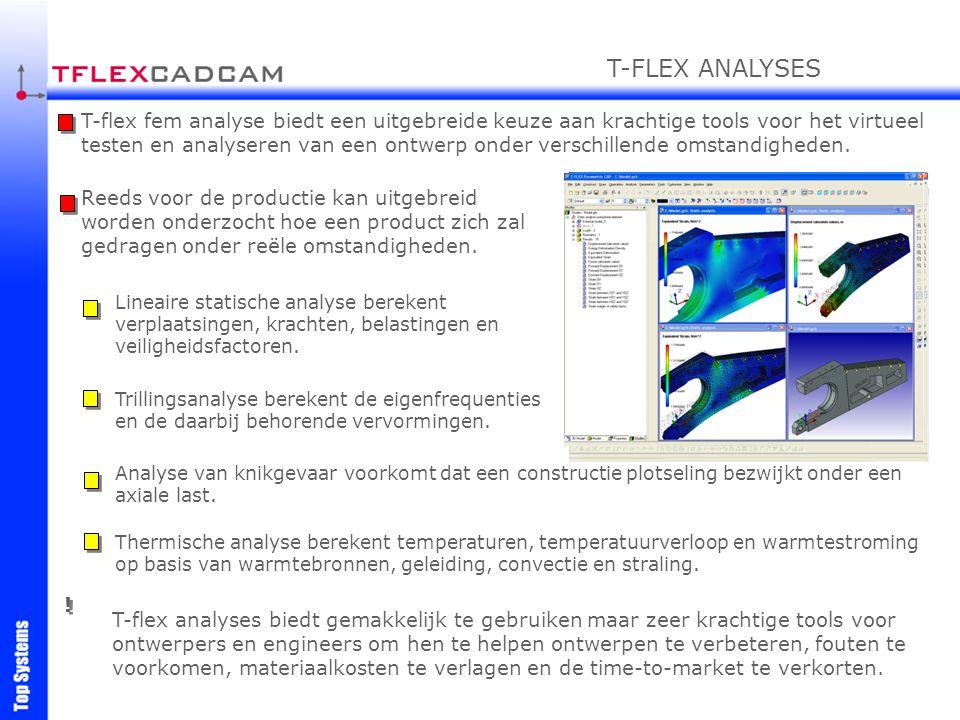 T-flex fem analyse biedt een uitgebreide keuze aan krachtige tools voor het virtueel testen en analyseren van een ontwerp onder verschillende omstandi