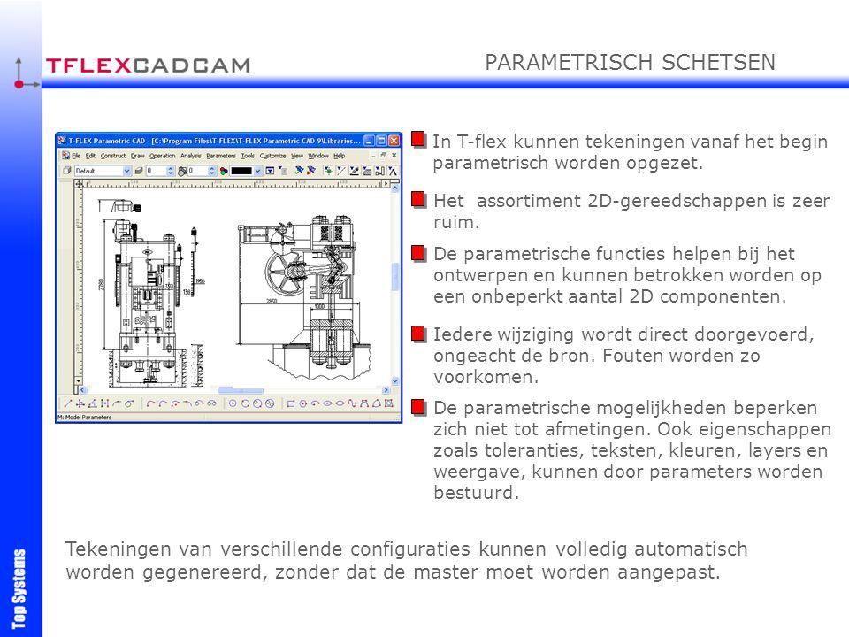 In T-flex kunnen tekeningen vanaf het begin parametrisch worden opgezet. Het assortiment 2D-gereedschappen is zeer ruim. De parametrische functies hel