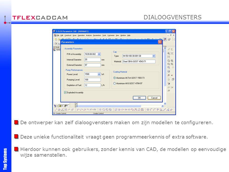 De ontwerper kan zelf dialoogvensters maken om zijn modellen te configureren. Deze unieke functionaliteit vraagt geen programmeerkennis of extra softw