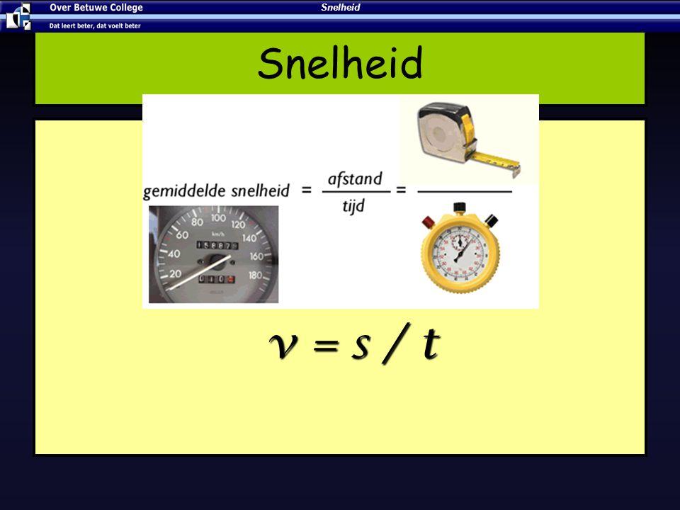 s = v x t Afstandsmkm Snelheidv gem m/skm/h Tijdtsh Formule: s = v gem × t s = 100 km t = 2 h v = 50 km/h Snelheid
