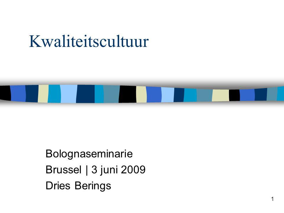 1 Kwaliteitscultuur Bolognaseminarie Brussel | 3 juni 2009 Dries Berings