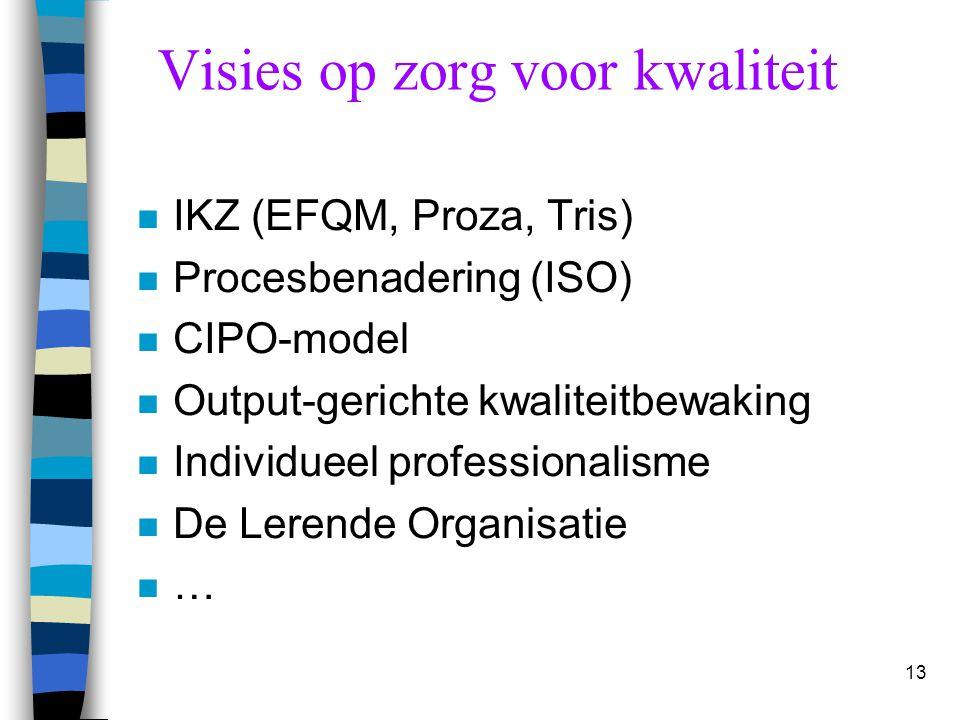 13 n IKZ (EFQM, Proza, Tris) n Procesbenadering (ISO) n CIPO-model n Output-gerichte kwaliteitbewaking n Individueel professionalisme n De Lerende Org