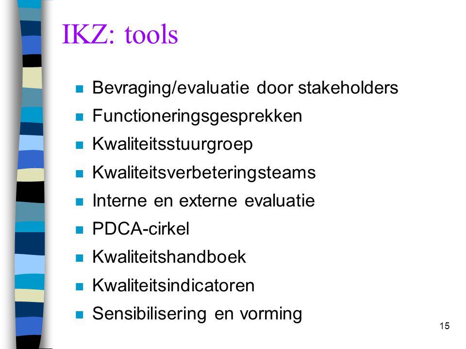 15 IKZ: tools n Bevraging/evaluatie door stakeholders n Functioneringsgesprekken n Kwaliteitsstuurgroep n Kwaliteitsverbeteringsteams n Interne en ext