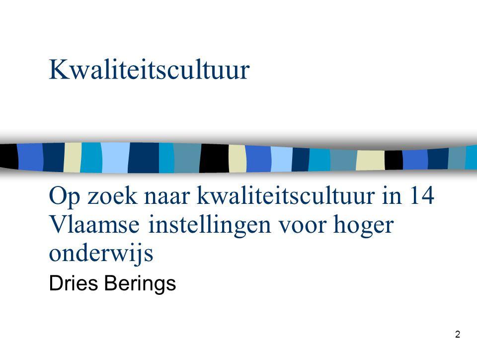 2 Kwaliteitscultuur Op zoek naar kwaliteitscultuur in 14 Vlaamse instellingen voor hoger onderwijs Dries Berings
