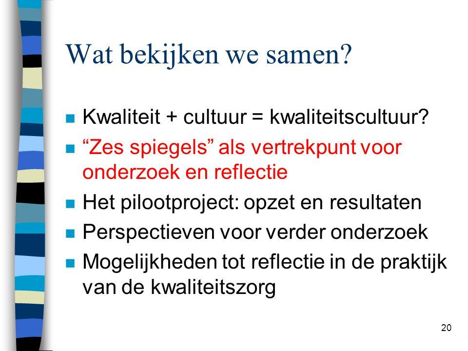 """20 Wat bekijken we samen? n Kwaliteit + cultuur = kwaliteitscultuur? n """"Zes spiegels"""" als vertrekpunt voor onderzoek en reflectie n Het pilootproject:"""