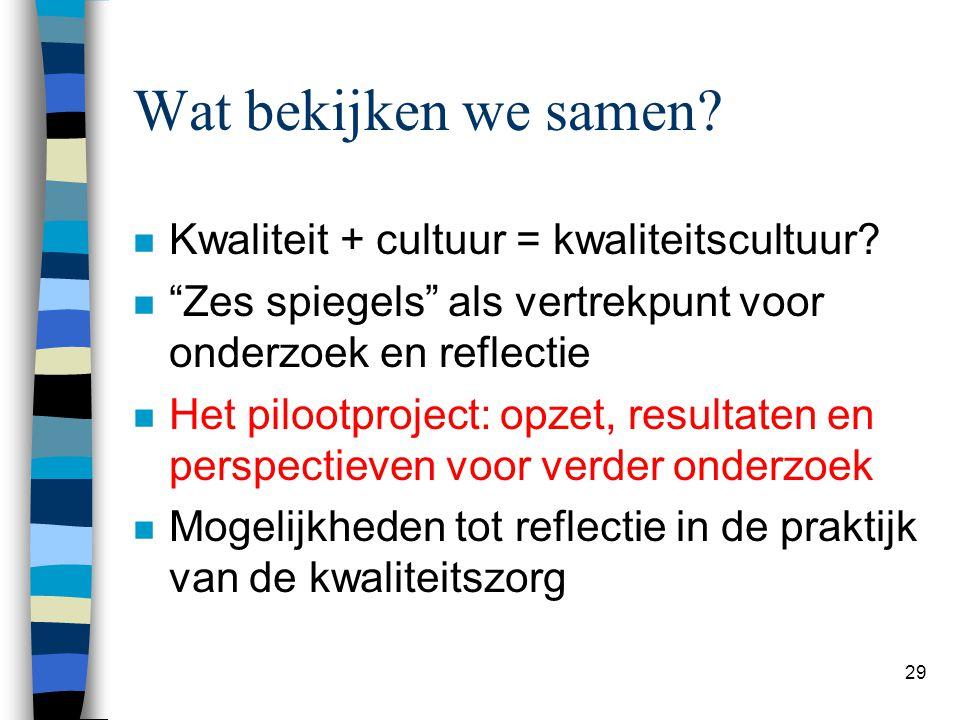 """29 Wat bekijken we samen? n Kwaliteit + cultuur = kwaliteitscultuur? n """"Zes spiegels"""" als vertrekpunt voor onderzoek en reflectie n Het pilootproject:"""