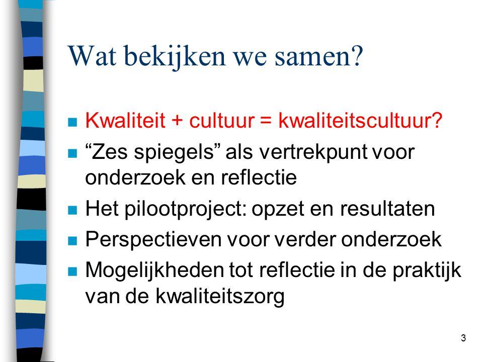 """3 Wat bekijken we samen? n Kwaliteit + cultuur = kwaliteitscultuur? n """"Zes spiegels"""" als vertrekpunt voor onderzoek en reflectie n Het pilootproject:"""