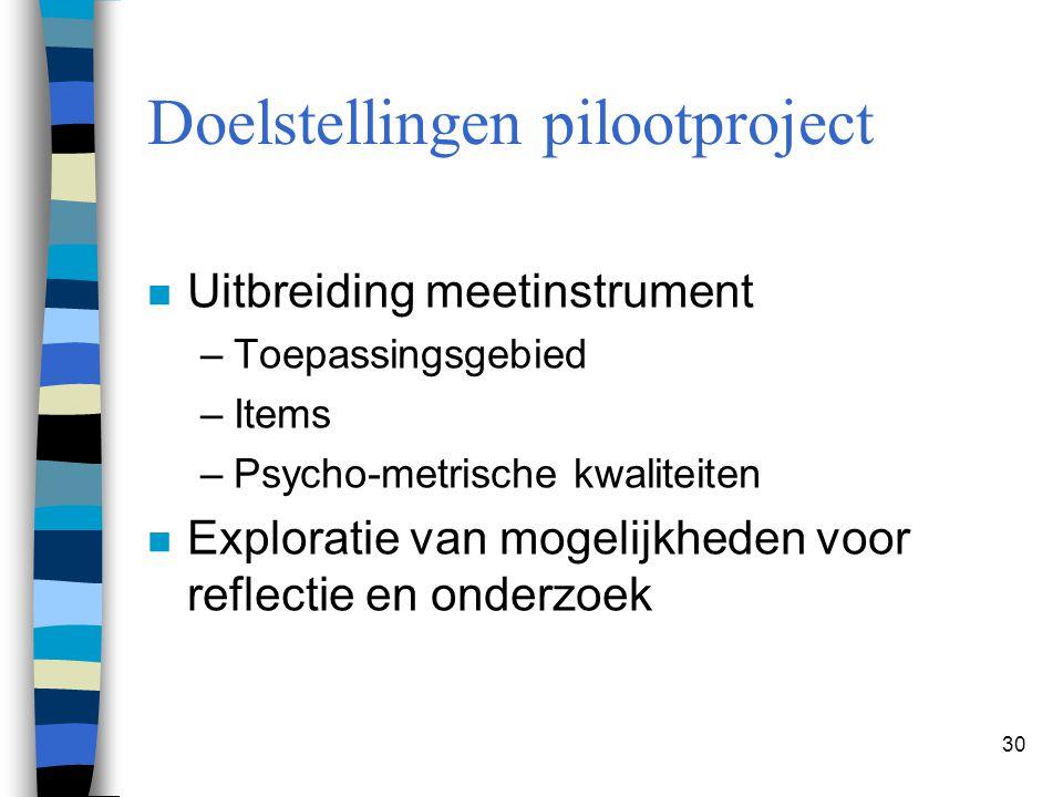 30 Doelstellingen pilootproject n Uitbreiding meetinstrument –Toepassingsgebied –Items –Psycho-metrische kwaliteiten n Exploratie van mogelijkheden vo