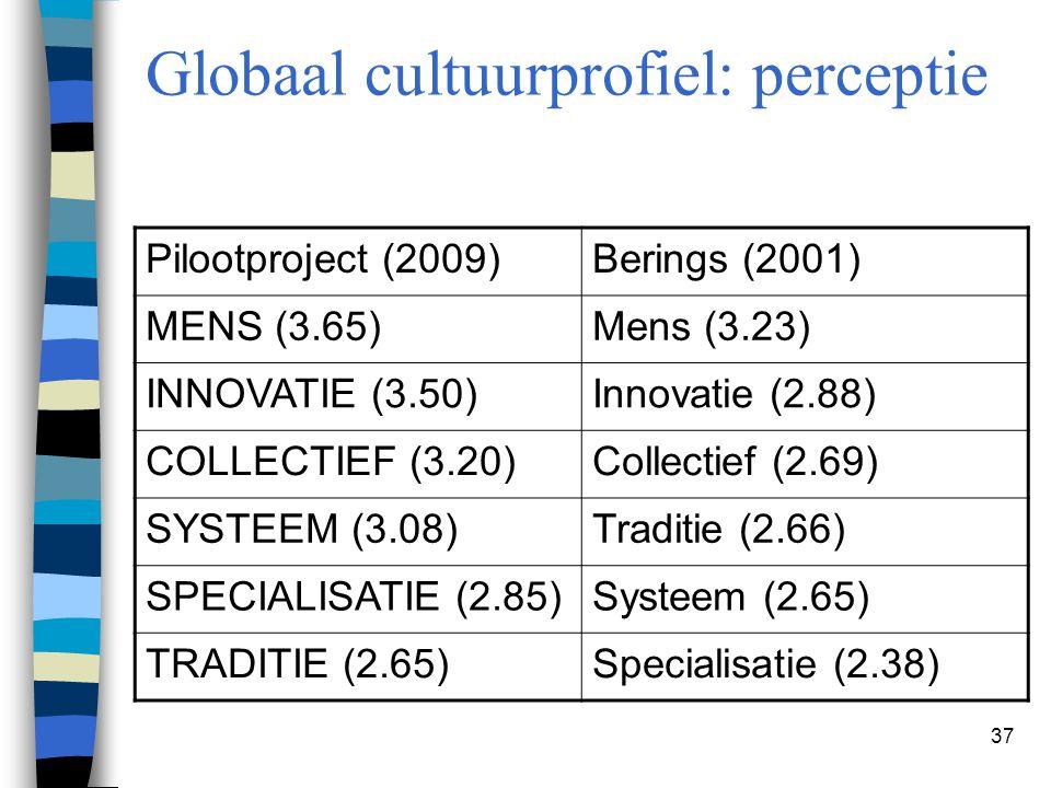 37 Globaal cultuurprofiel: perceptie Pilootproject (2009)Berings (2001) MENS (3.65)Mens (3.23) INNOVATIE (3.50)Innovatie (2.88) COLLECTIEF (3.20)Colle