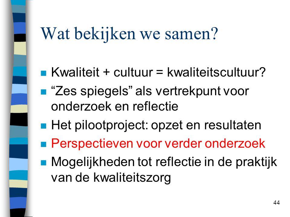 """44 Wat bekijken we samen? n Kwaliteit + cultuur = kwaliteitscultuur? n """"Zes spiegels"""" als vertrekpunt voor onderzoek en reflectie n Het pilootproject:"""