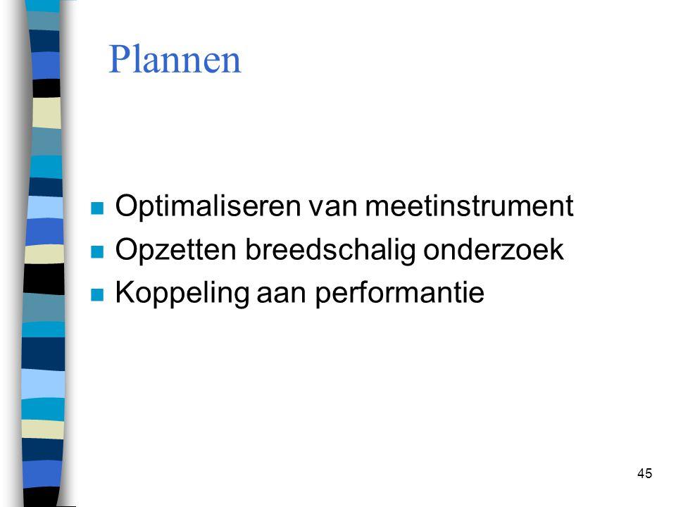 45 Plannen n Optimaliseren van meetinstrument n Opzetten breedschalig onderzoek n Koppeling aan performantie