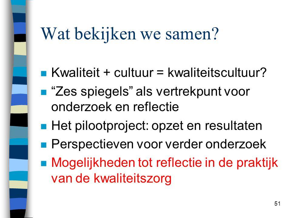 """51 Wat bekijken we samen? n Kwaliteit + cultuur = kwaliteitscultuur? n """"Zes spiegels"""" als vertrekpunt voor onderzoek en reflectie n Het pilootproject:"""