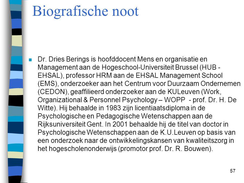 57 Biografische noot n Dr. Dries Berings is hoofddocent Mens en organisatie en Management aan de Hogeschool-Universiteit Brussel (HUB - EHSAL), profes