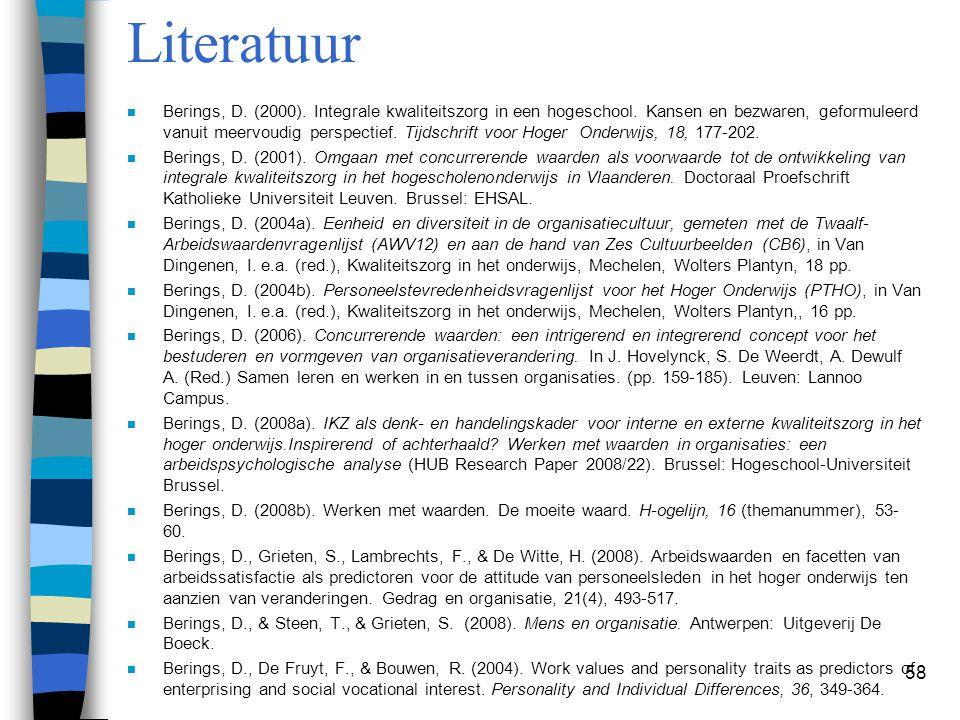 58 Literatuur n Berings, D. (2000). Integrale kwaliteitszorg in een hogeschool. Kansen en bezwaren, geformuleerd vanuit meervoudig perspectief. Tijdsc