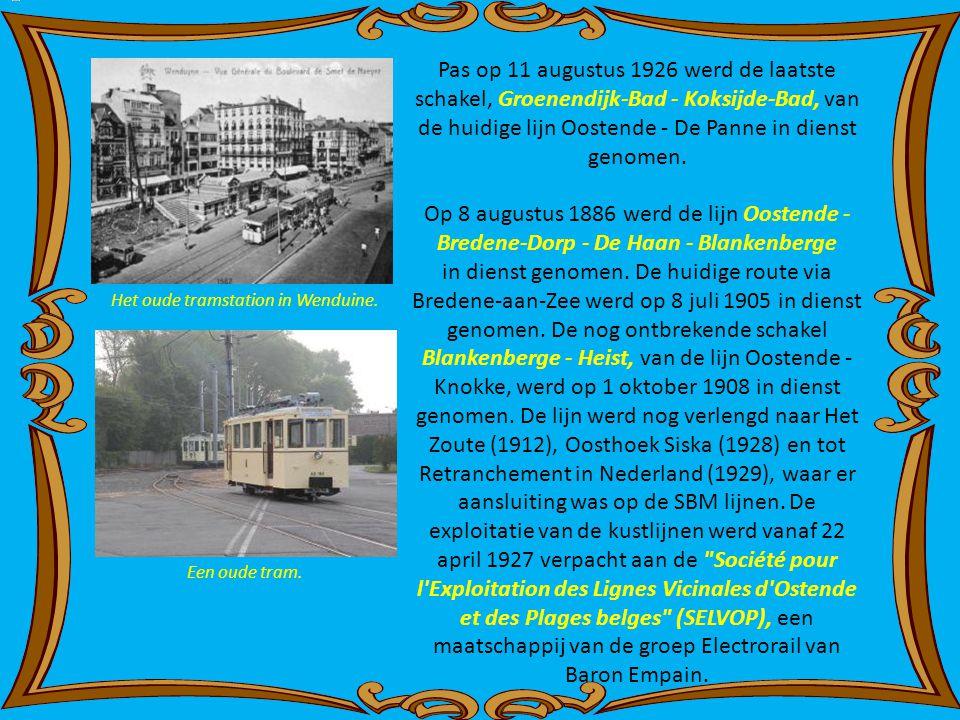 Pas op 11 augustus 1926 werd de laatste schakel, Groenendijk-Bad - Koksijde-Bad, van de huidige lijn Oostende - De Panne in dienst genomen.