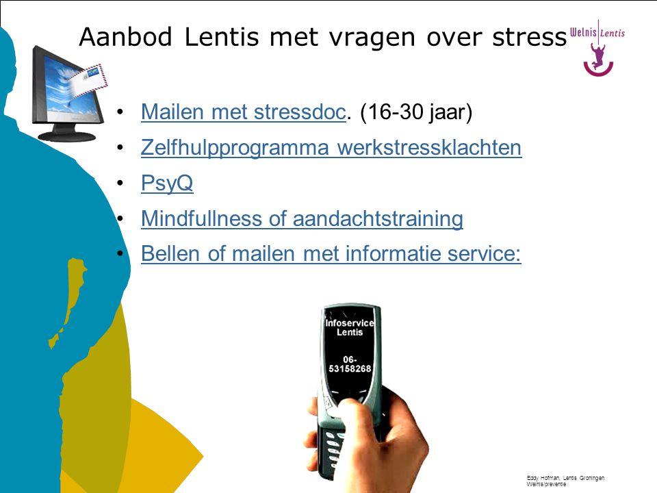Eddy Hofman, Lentis Groningen Welnis/preventie Moeite hebben met concentreren Vergeetachtig zijn Afwezige indruk Minder gemotiveerde indruk het werk n