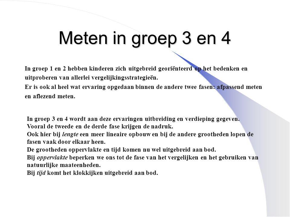 Meten in groep 3 en 4 In groep 1 en 2 hebben kinderen zich uitgebreid georiënteerd op het bedenken en uitproberen van allerlei vergelijkingsstrategieë