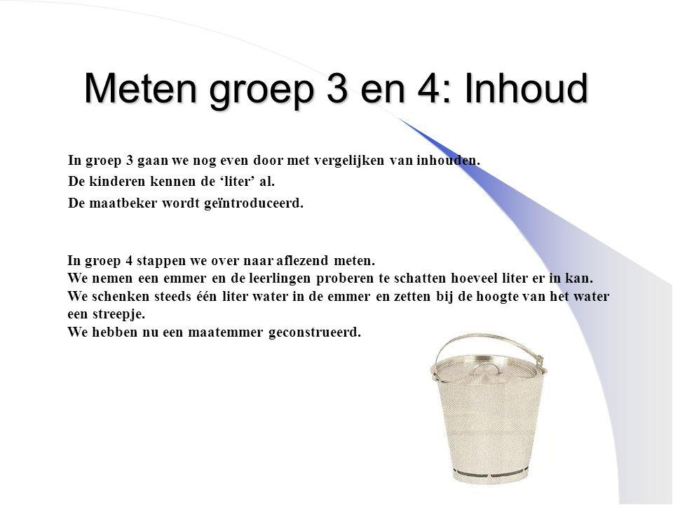 Meten groep 3 en 4: Inhoud In groep 3 gaan we nog even door met vergelijken van inhouden. De kinderen kennen de 'liter' al. De maatbeker wordt geïntro