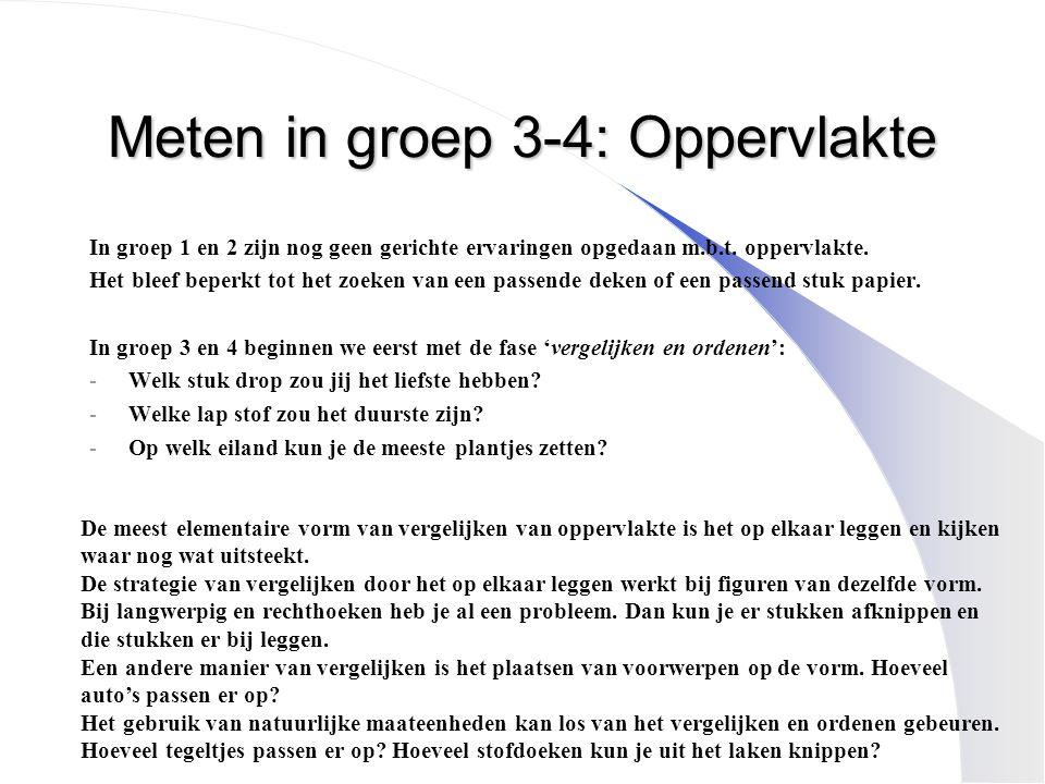 Meten in groep 3-4: Oppervlakte In groep 1 en 2 zijn nog geen gerichte ervaringen opgedaan m.b.t. oppervlakte. Het bleef beperkt tot het zoeken van ee