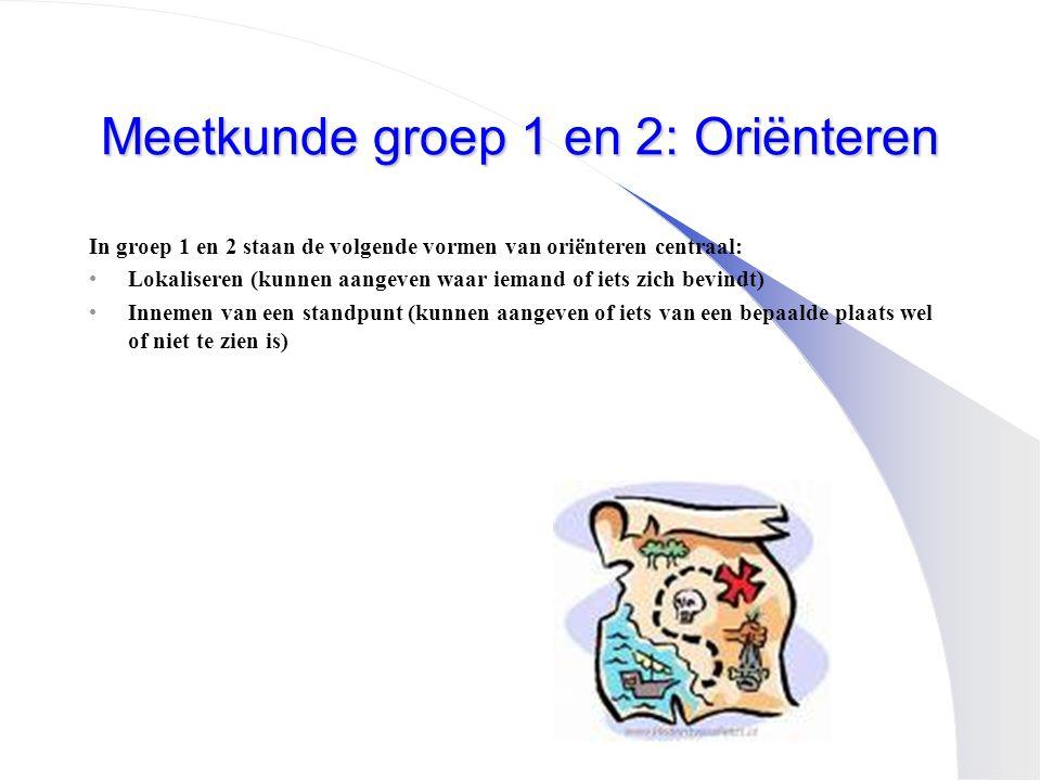 Meetkunde groep 1 en 2: Oriënteren In groep 1 en 2 staan de volgende vormen van oriënteren centraal: •Lokaliseren (kunnen aangeven waar iemand of iets
