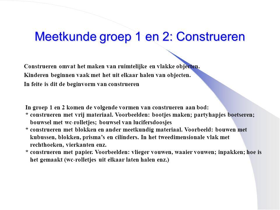 Meetkunde groep 1 en 2: Construeren Construeren omvat het maken van ruimtelijke en vlakke objecten. Kinderen beginnen vaak met het uit elkaar halen va