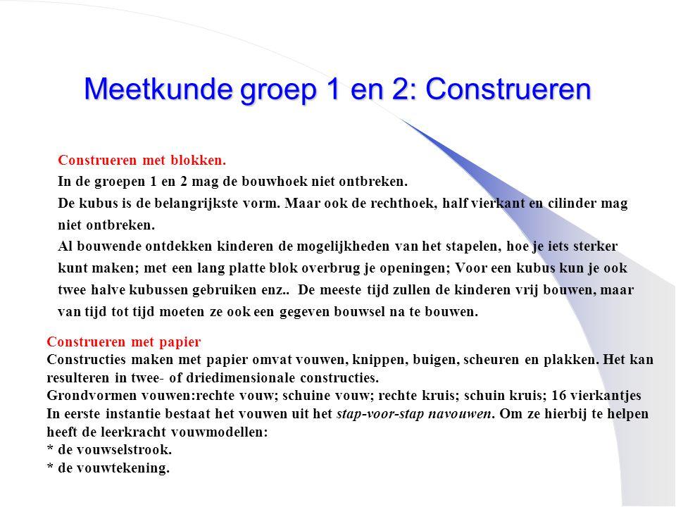 Meetkunde groep 1 en 2: Construeren Construeren met blokken. In de groepen 1 en 2 mag de bouwhoek niet ontbreken. De kubus is de belangrijkste vorm. M