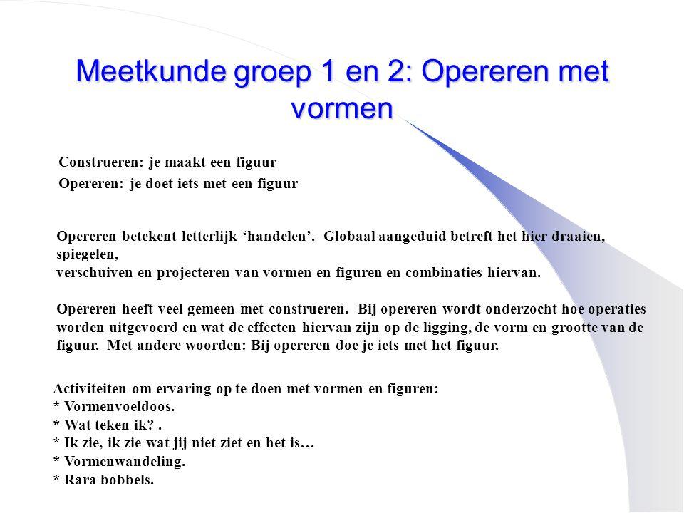 Meetkunde groep 1 en 2: Opereren met vormen Construeren: je maakt een figuur Opereren: je doet iets met een figuur Opereren betekent letterlijk 'hande