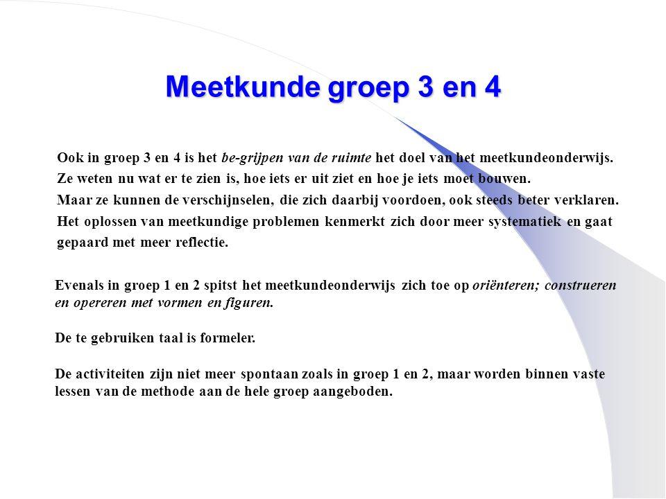 Meetkunde groep 3 en 4 Ook in groep 3 en 4 is het be-grijpen van de ruimte het doel van het meetkundeonderwijs. Ze weten nu wat er te zien is, hoe iet