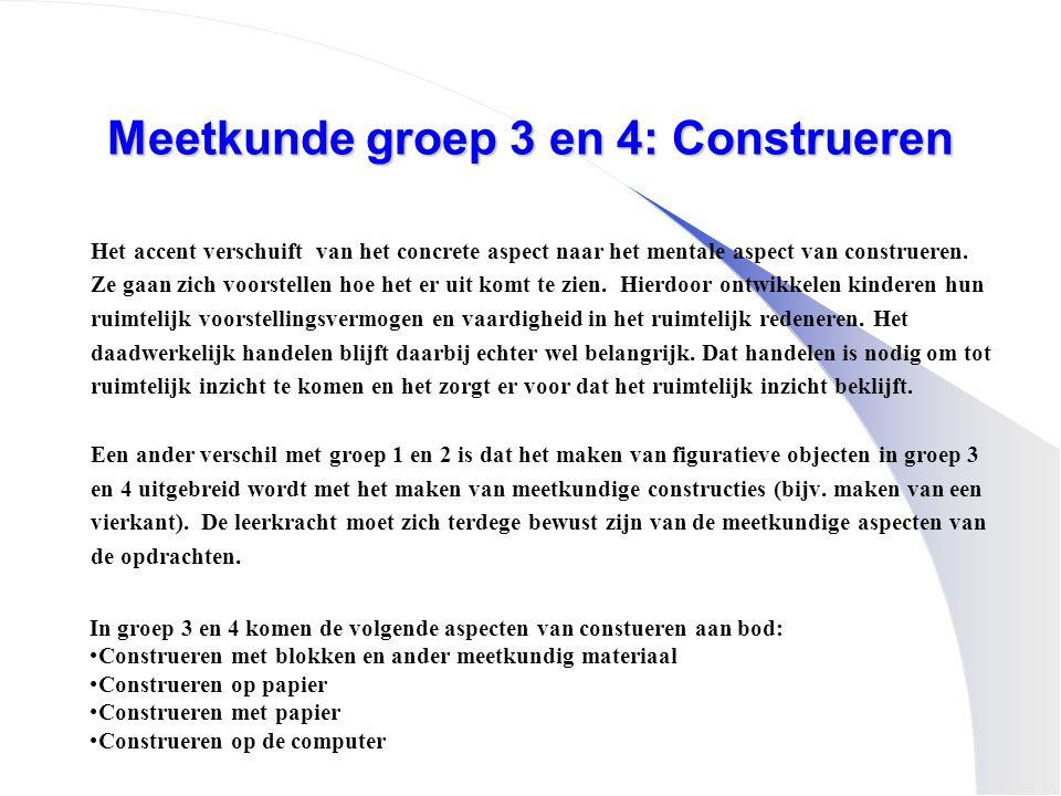 Meetkunde groep 3 en 4: Construeren Het accent verschuift van het concrete aspect naar het mentale aspect van construeren. Ze gaan zich voorstellen ho