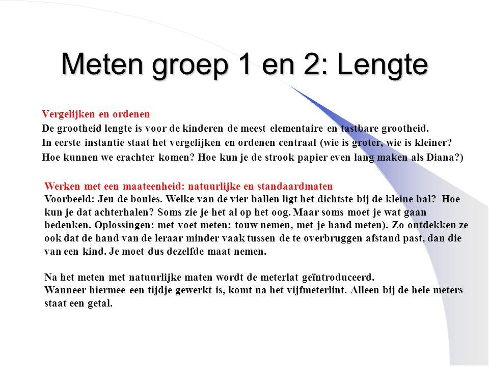 Meten groep 1 en 2: Lengte Vergelijken en ordenen De grootheid lengte is voor de kinderen de meest elementaire en tastbare grootheid. In eerste instan