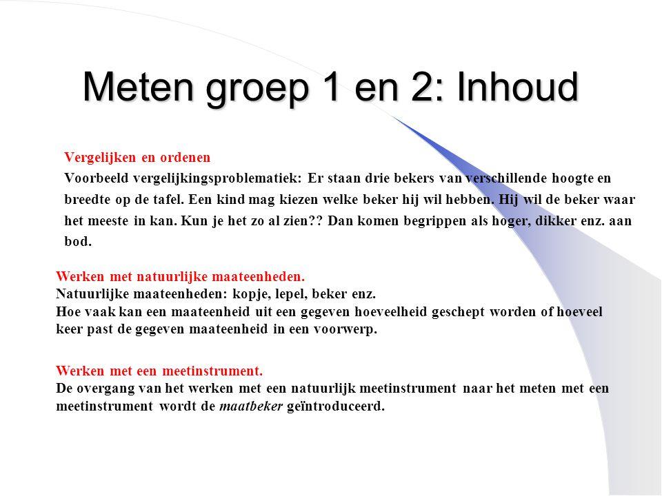Meten groep 1 en 2: Inhoud Vergelijken en ordenen Voorbeeld vergelijkingsproblematiek: Er staan drie bekers van verschillende hoogte en breedte op de