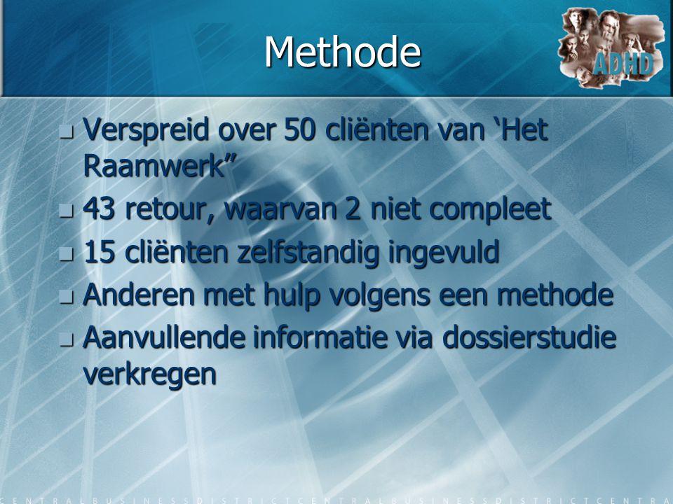"""Methode  Verspreid over 50 cliënten van 'Het Raamwerk""""  43 retour, waarvan 2 niet compleet  15 cliënten zelfstandig ingevuld  Anderen met hulp vol"""