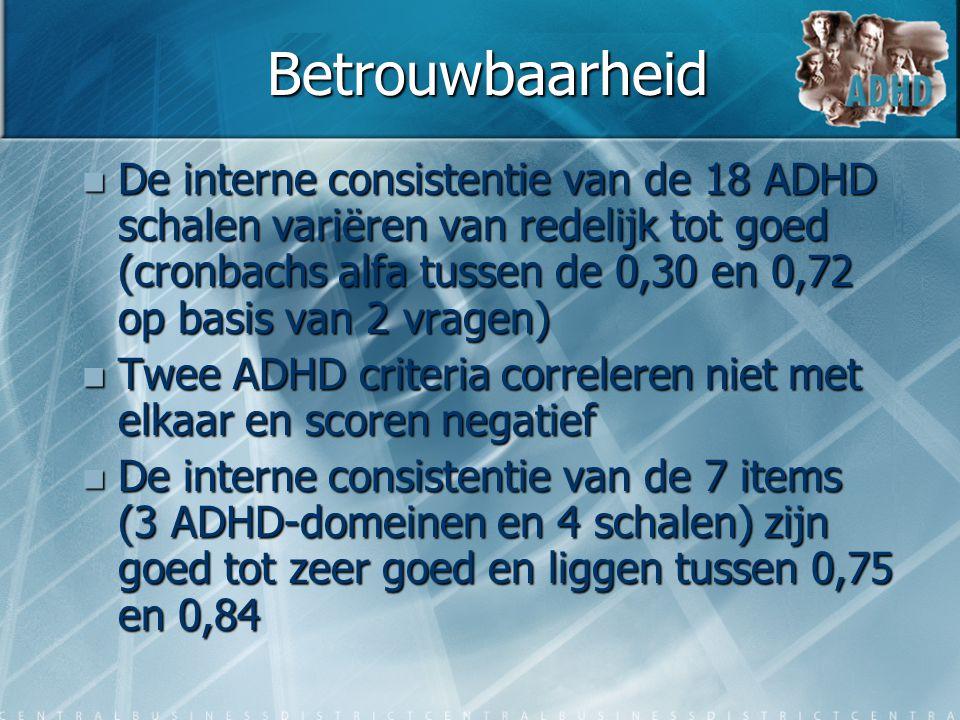 Betrouwbaarheid  De interne consistentie van de 18 ADHD schalen variëren van redelijk tot goed (cronbachs alfa tussen de 0,30 en 0,72 op basis van 2