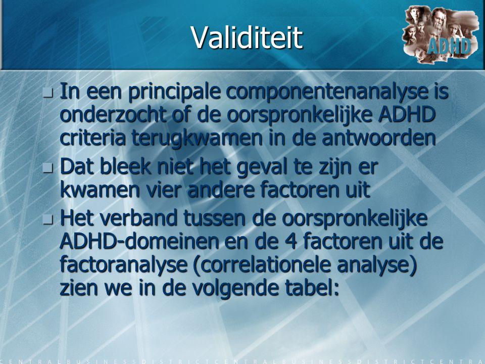 Validiteit  In een principale componentenanalyse is onderzocht of de oorspronkelijke ADHD criteria terugkwamen in de antwoorden  Dat bleek niet het