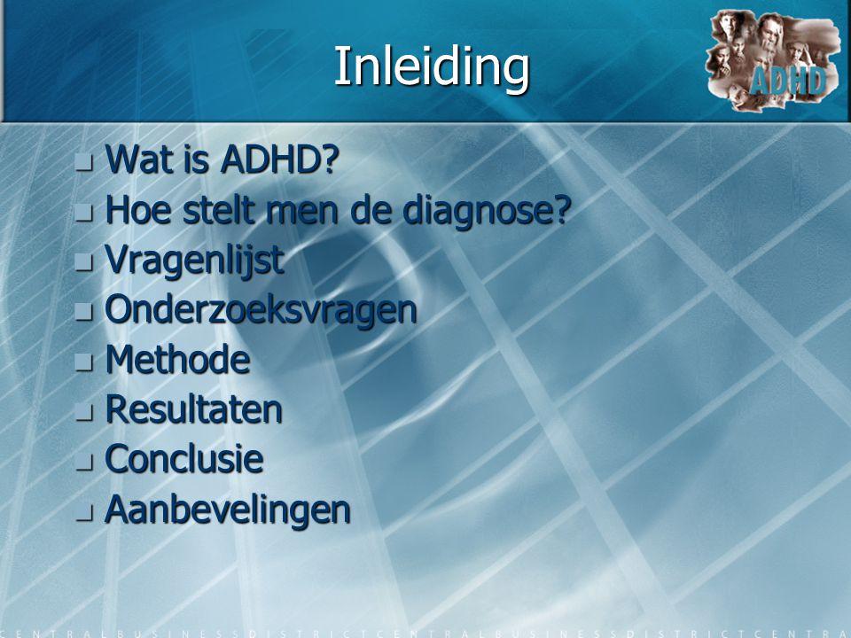 Inleiding  Wat is ADHD?  Hoe stelt men de diagnose?  Vragenlijst  Onderzoeksvragen  Methode  Resultaten  Conclusie  Aanbevelingen