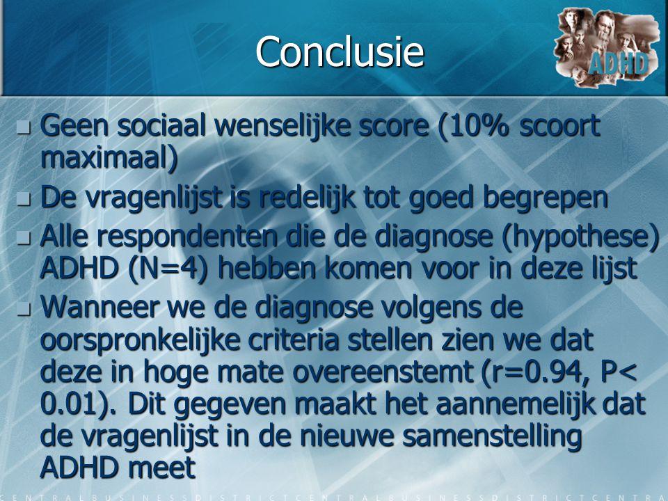 Conclusie  Geen sociaal wenselijke score (10% scoort maximaal)  De vragenlijst is redelijk tot goed begrepen  Alle respondenten die de diagnose (hy