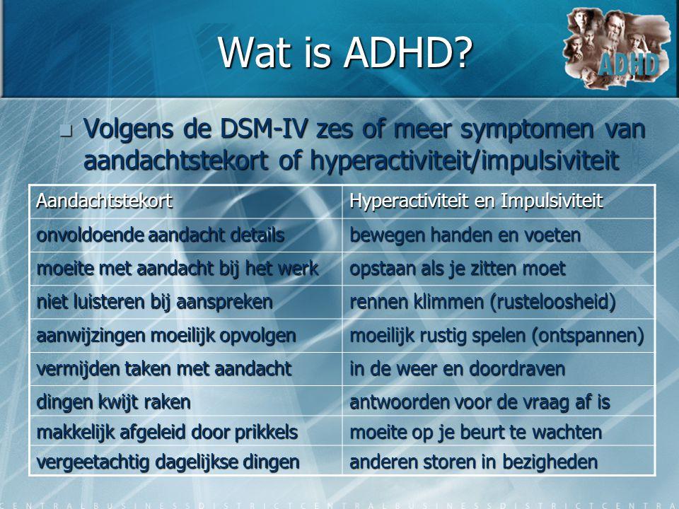 Wat is ADHD?  Volgens de DSM-IV zes of meer symptomen van aandachtstekort of hyperactiviteit/impulsiviteit Aandachtstekort Hyperactiviteit en Impulsi