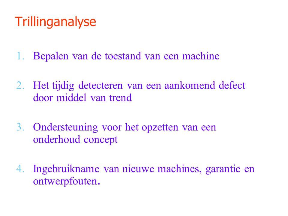 Trillinganalyse 1.Bepalen van de toestand van een machine 2.Het tijdig detecteren van een aankomend defect door middel van trend 3.Ondersteuning voor