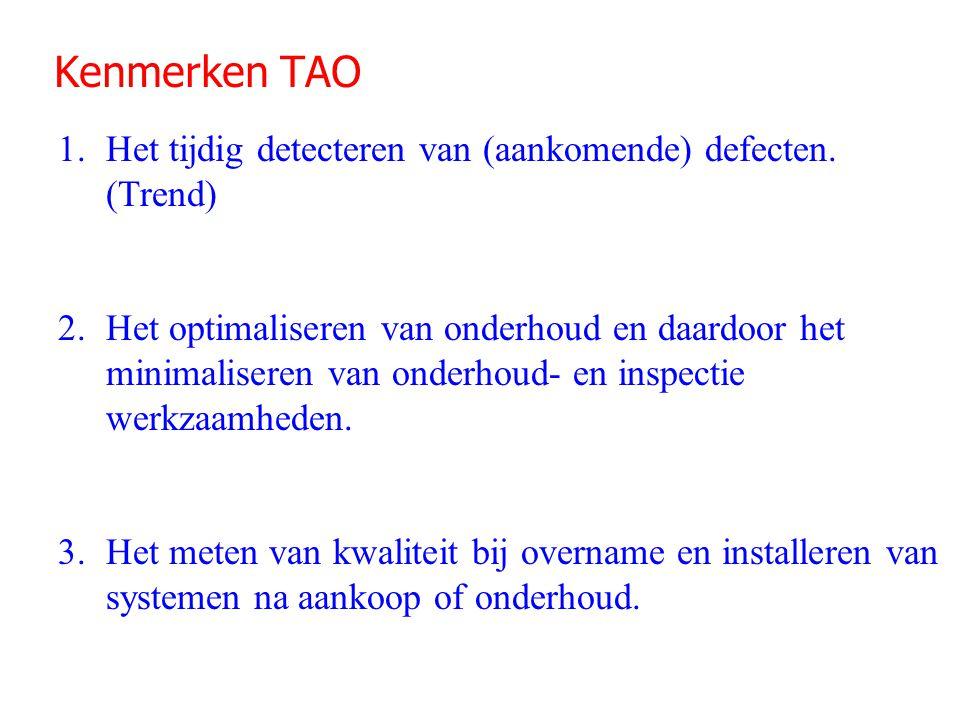 Kenmerken TAO 1.Het tijdig detecteren van (aankomende) defecten. (Trend) 2.Het optimaliseren van onderhoud en daardoor het minimaliseren van onderhoud