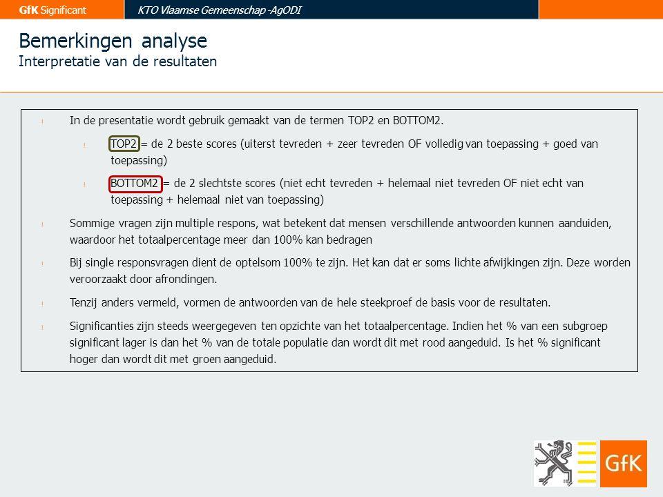 GfK SignificantKTO Vlaamse Gemeenschap -AgODI Bemerkingen analyse Interpretatie van de resultaten ! In de presentatie wordt gebruik gemaakt van de ter